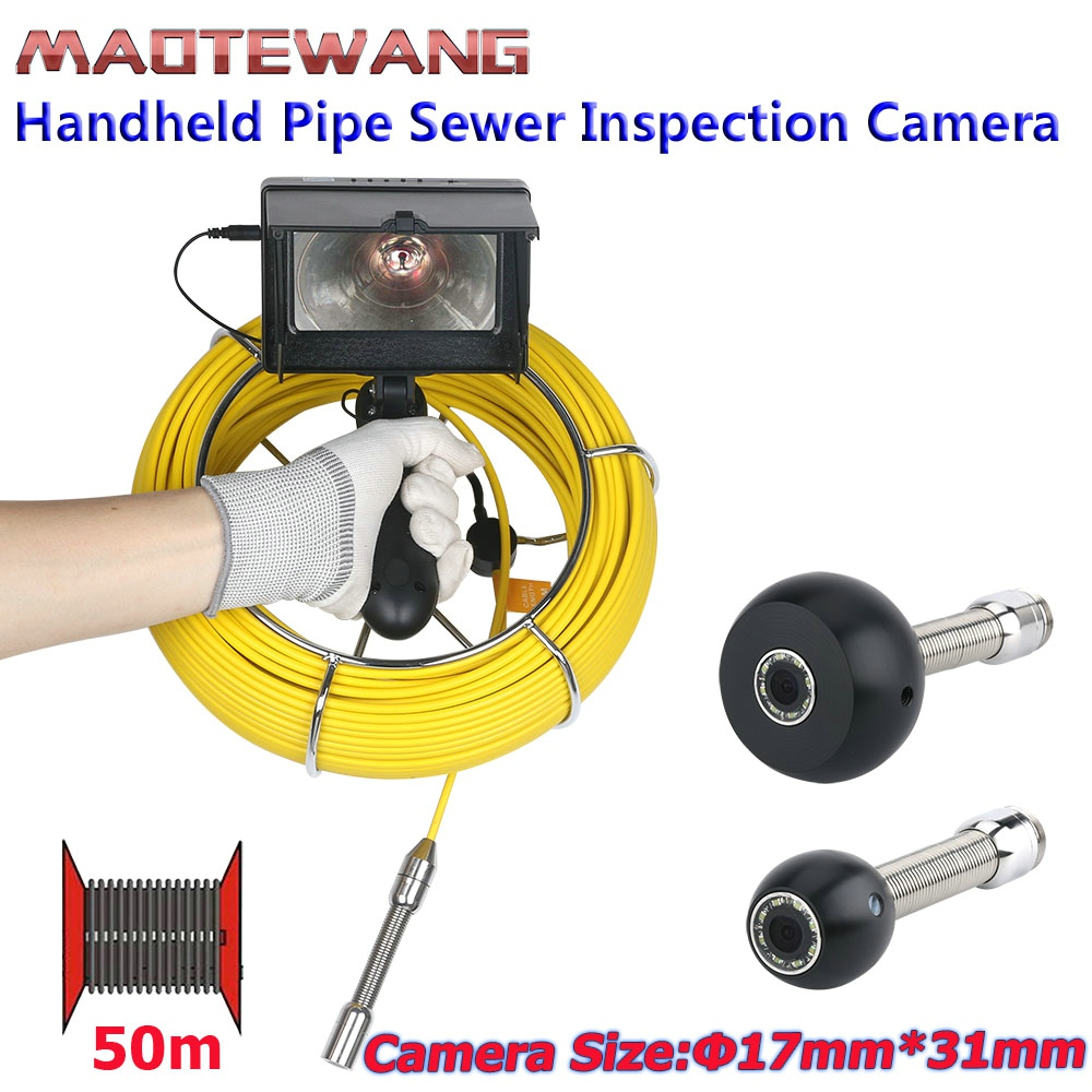 MAOTEWANG 4 3 inch 17mm Handheld Industrial Pipe Sewer Inspection Video Camera IP68 Waterproof 1000 TVL