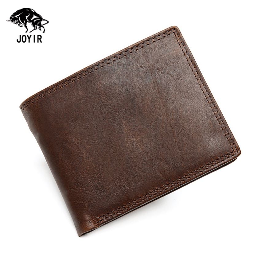 Classic Natural Cow Leather Men Wallets 2017 High Quality Famous Brand Credit Card Holder Mens Vintage Luxury Designer Purse