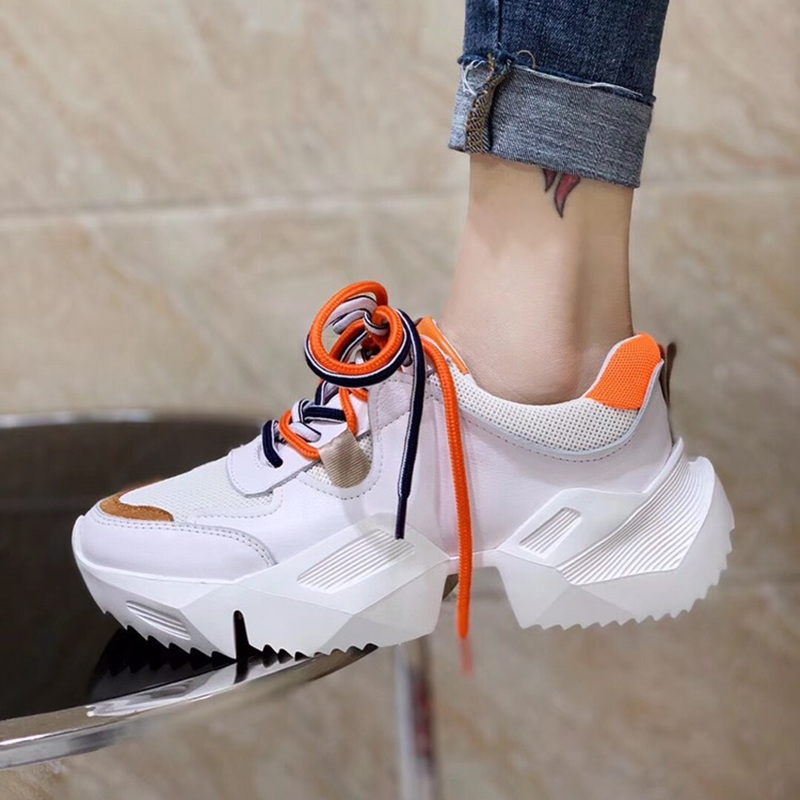 Brand luxury shoes Casual women sneakers spring summer the new hot sale mesh platform Ladies white