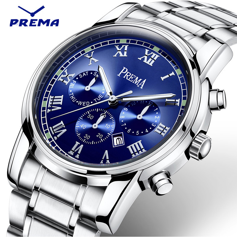 Relogio Masculino PREMA Men Sports Quartz Watch Stainless Steel Strap Waterproof Mens Watches Top Brand Luxury Erkek Kol Saati weide popular brand new fashion digital led watch men waterproof sport watches man white dial stainless steel relogio masculino