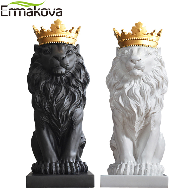 ERMAKOVA Modern Lion Statue Sculpture with Gold Crown Resin Animal Figurine Geometric Style Home Desktop Office