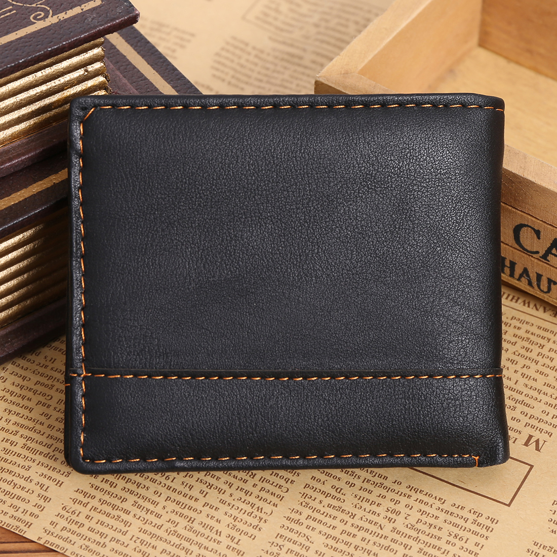 VSEN Hot Mens Luxury Leather Bifold Wallet Credit/ID Card Receipt Holder Slim Coin Purse leather slim credit card holder id card case holder useful purse with neck strap