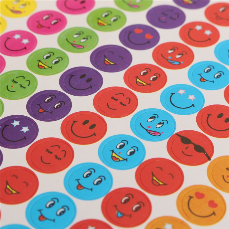 Newest Mrosaa 10 Sheets Mixed Color Lovely Smiley Faces Stickers Childrens School Teacher Useful Gift Reward Well Done Stickers