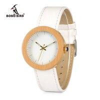 Promo BOBO BIRD WJ27 marca reloj de mujer reloj de cuarzo de acero de bambú correa de cuero genuino con caja de madera relojes mujer aceptar OEM