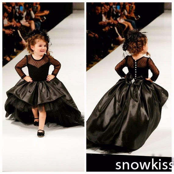Black little girls birthday party gown high low sheer long sleeves toddler graduation dress kids prom