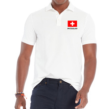 BLWHSA Men Shirt Homme Man Casual Turndown Collar Male Summer SWITZERLAND National Flag Printed Breathable Tee