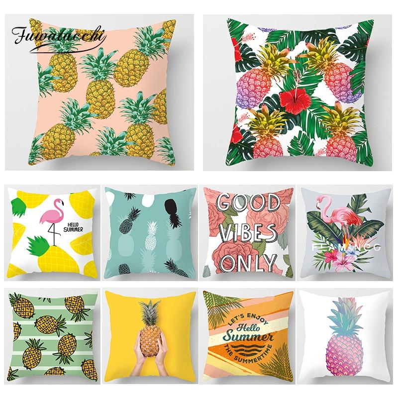 Fuwatacchi housse de coussin Tropical Flamingo plante fruits décor oreillers couverture chaise de voiture salon décoration taie d'oreiller
