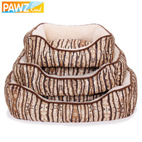New Arrival Super Soft Pet Kennel Tree Bark Pattern Square Shape Dog Beds Puppy Cat Warming Winter Nest Bed 3 Sizes Pet Supplies
