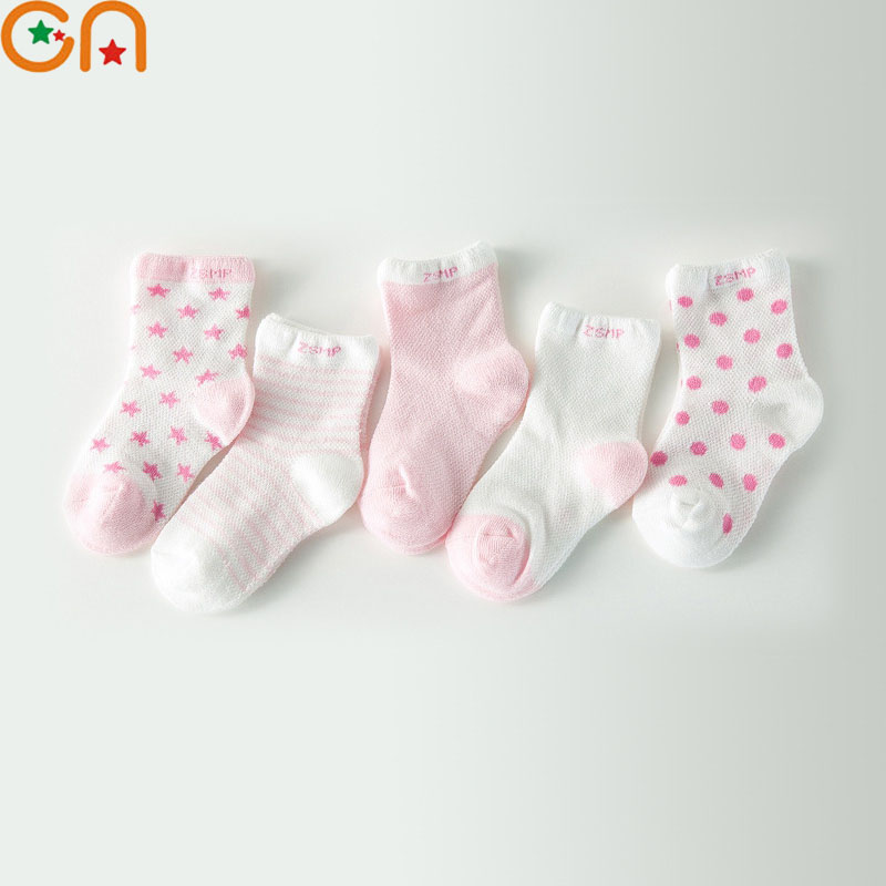 ZuverläSsig 5 Paare/los Sommer 75% Baumwolle Junge Mädchen Kinder Baby Infant Kinder Mode Atmungsaktives Mesh Sport Socken Für 0-6 T Kostenloser Versand Cn Grade Produkte Nach QualitäT Mädchen Kleidung Mutter & Kinder