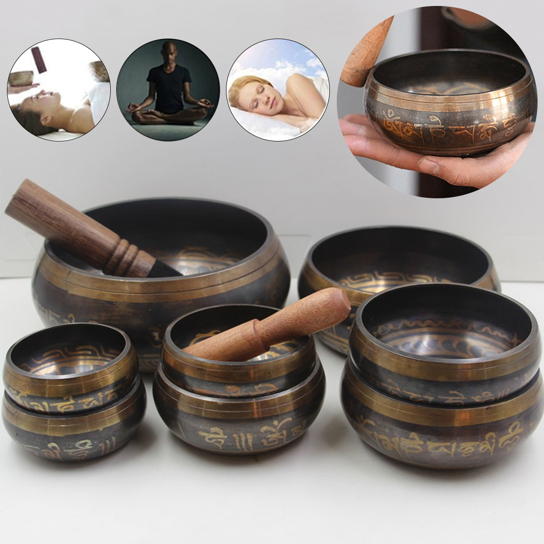 Hand Hammered Chakra Meditation Bowl Decorative Wall Dishes Yoga Tibetan Buddhist Brass Singing Bowl