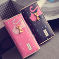 Pu Women Fashion Long Wallet Bowknot Hasp Purse Female Carteira 2016 New Clutch Bag Cartoon Printing Cute Money Clip For Teenage