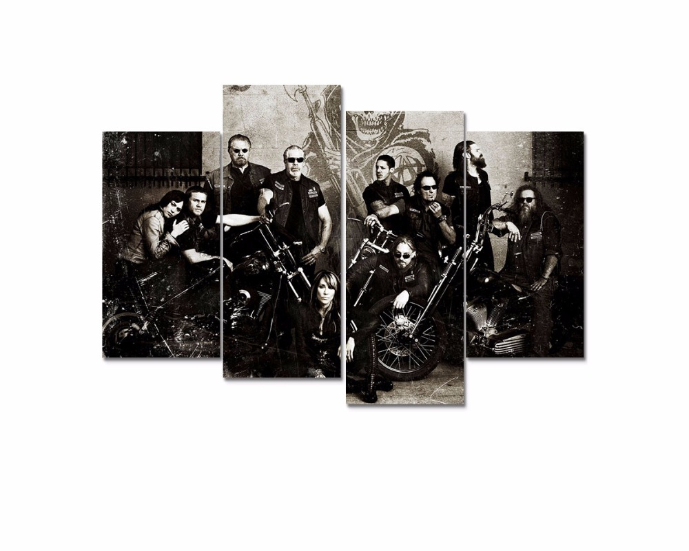 4 Panel large HD Printed Sons Anarchy Soa Samcro Wall art Pictures print For Living Room Modern home decor Canvas Painting F0654