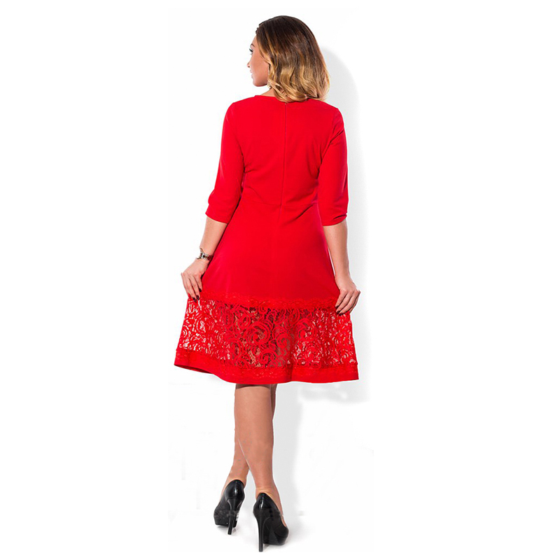 067847030b0 4XL 5XL 6XL Lace Patchwork Plus Size Dress 2017 Red Black Blue O Neck Loose  Large Big Size Elegant Casual Vintage Dress Vestidos-in Dresses from  Women s ...