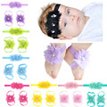 Lace hair band satin flower trade baby kids foot strap feet flower accessory baby accessories sets