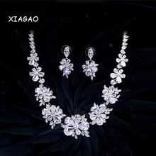 XIAGAO Luxury Bridal CZ Diamond Jewelry Sets AAA+ Cubic Zirconia Crystal Wedding Necklace Earrings Accessories For Brides