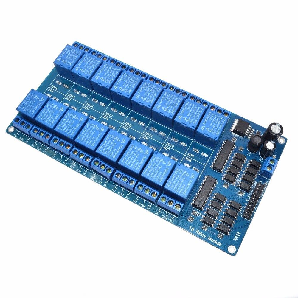 2016 China por mayor 12 V 16 canal módulo de relé para Arduino PIC AVR DSP electrónico placa de relé optoacoplador cinturón aislamiento
