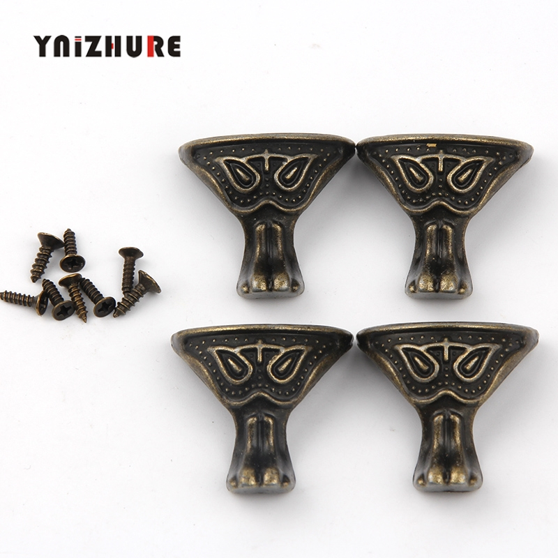 28*27mm 40Pcs Chinese Alloy Animal Footing,Decoration Legs,Vintage Wooden Box Beast Feet,Cabinet Corner,Bronze Tone Color