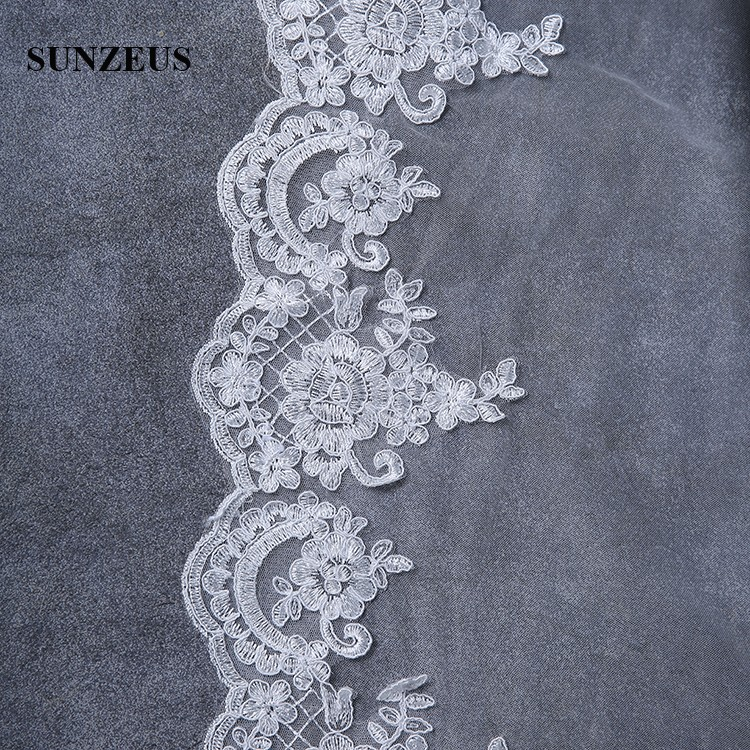 Long Wedding Veils 4m One Layer Lace Edge Bridal Veil With Appliques voile de mariee Ivory Veil With comb WV070