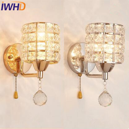 IWHD Modern Luxury Crystal Led Wall Light Simple LED Wall Lamp Concise Bedside Lights Fixtures For Home Lighting Bedroom
