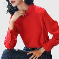 Ladies natural silk tops and blouses women back button design vintage green red silk shirt roupa camisa blusa feminina LT2088