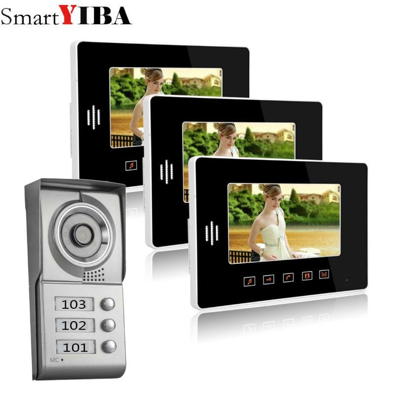 SmartYIBA 3 Units Apartment intercom system Video Door Phone Intercom Kit all Aluminum Alloy Camera 7 LCD Touch Monitor