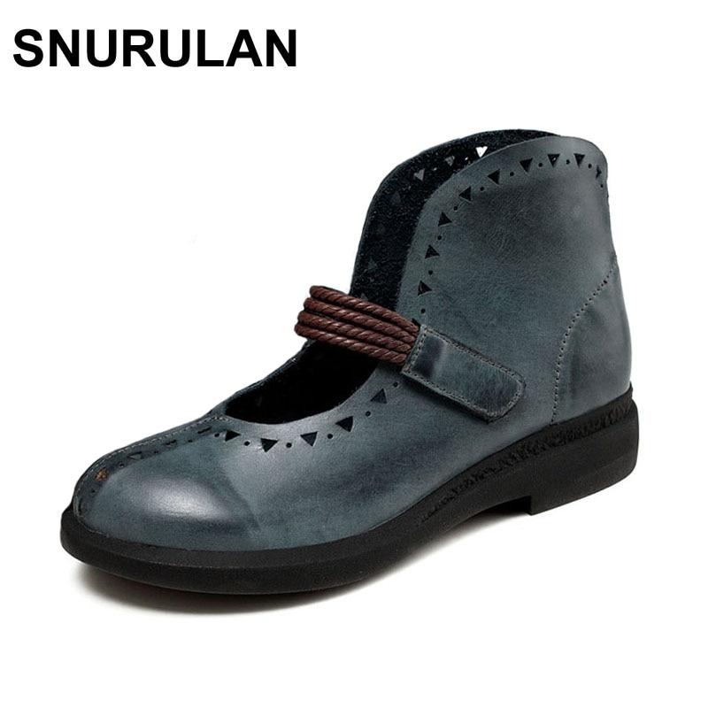 SNURULAN 2017 New Spring Woman Shoes Genuine Leather Round Toe Hook Loop Design 7893