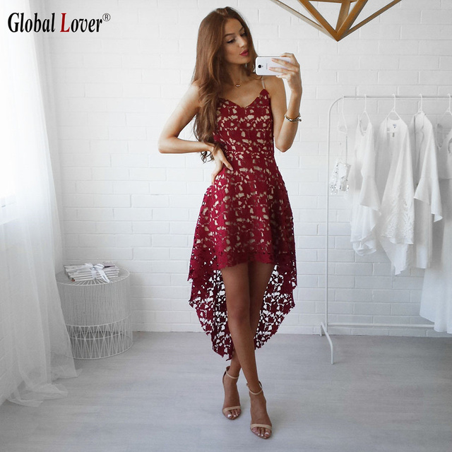 79d5ec34a13 Global Lover Woman Elegant Summer Style White Lace Irregular Dress Sexy Red  Spaghetti Strap Tunic Club Party Dresses Plus Size