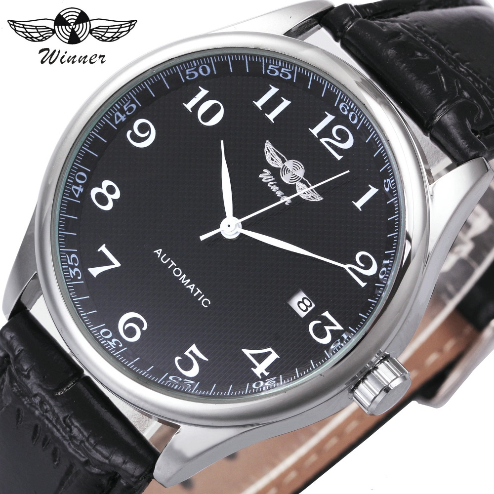 WINNER Classic Casual Men Automatic Mechanical Watch Leather Strap Calendar Date Dial Minimum Design Business Male Wristwatch tian wang leather strap automatic mechanical watch for business casual men with ss see through case back gs5789s d