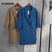 2017 Double Breasted Woman Coats Fashion Solid Camel Straight Blazers Outwears Autumn Winter Long Section Ladies suit Jacket 167