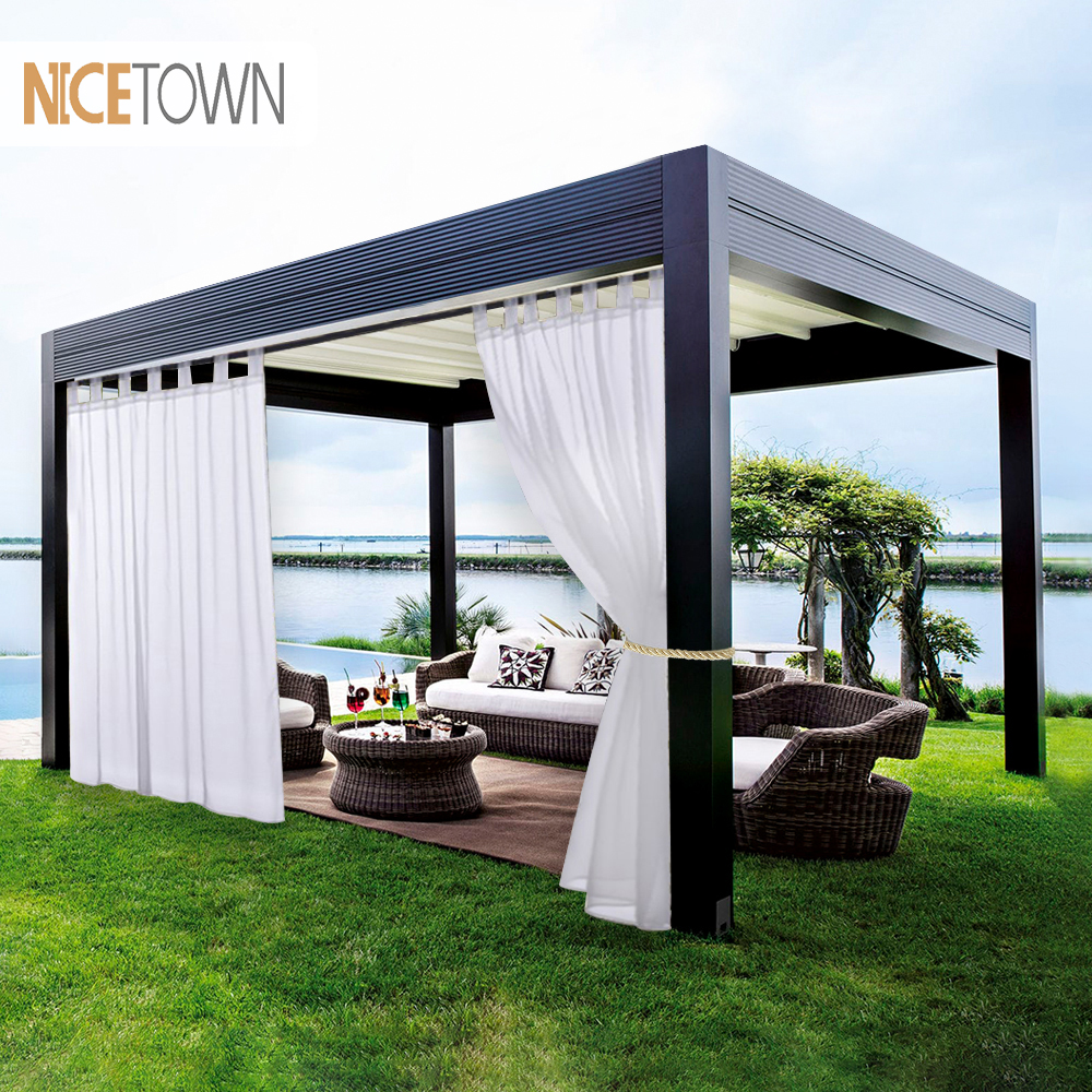 NICETOWN Double Sheer Curtains Panels For Patio&Garden Tab Top Waterproof Outdoor Indoor Privacy Voile Drapes With 2 Bonus Ropes