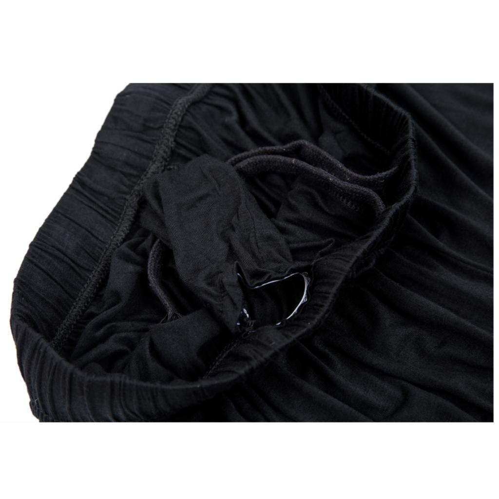 Pantalon noir, de yoga tai chi, large ample bouffant souple, pour hommes et femmes, détails, vue intérieur coutures