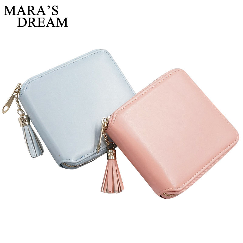 Mara's Dream 2018 Tassels Zipper Women Wallet For Coin Card Cash Invoice Lady Small Purse Short Candy Color Solid Female Clutch fashion colorful lady lovely coin purse solid golden umbrella clutch wallet large capacity zipper women small bag cute card hold