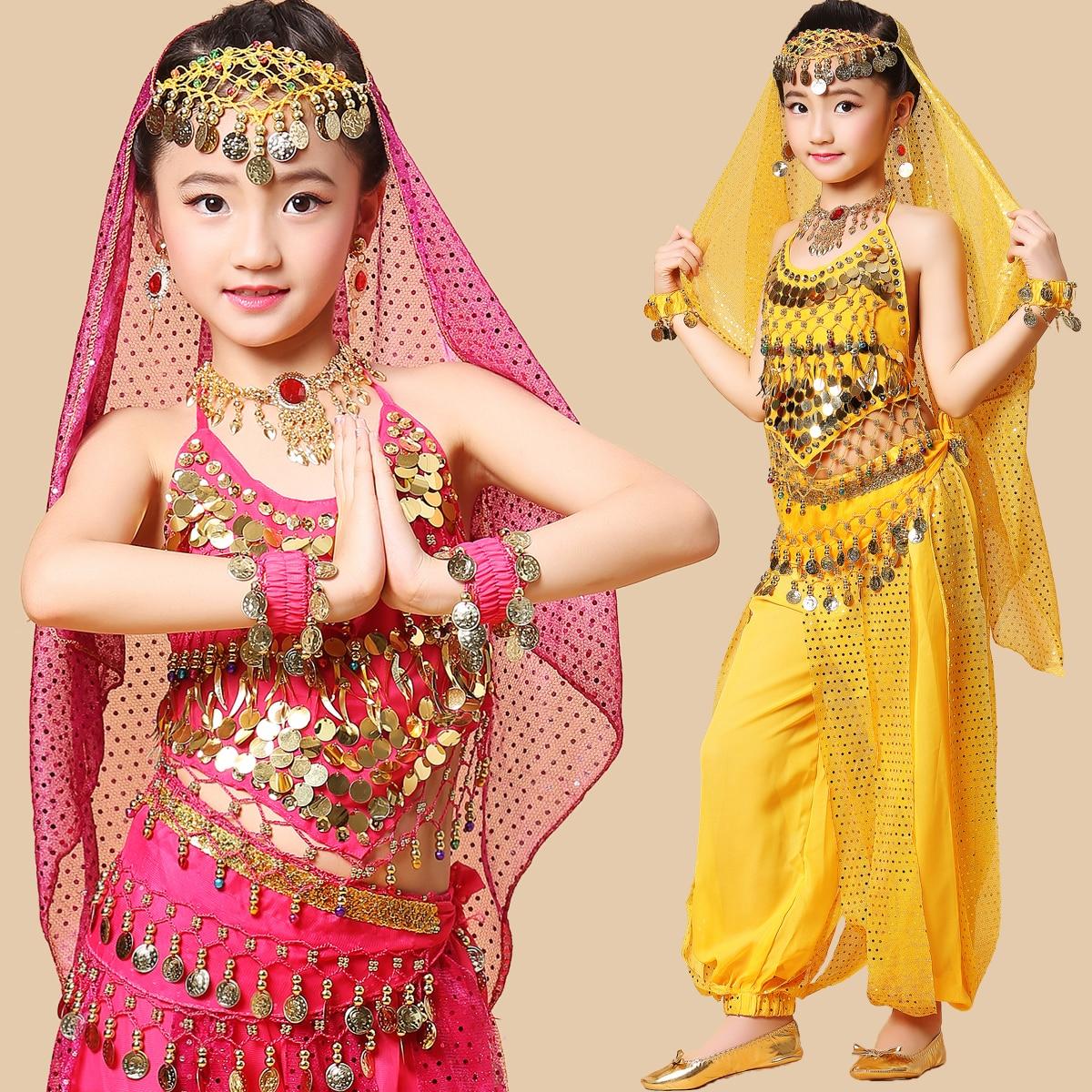 Child Kids Bollywood Indian Dresses Sari For Girls Dance