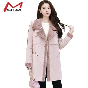 2017 Для женщин замшевые пальто двубортный Тренч пальто Женская зимняя обувь куртки женские из искусственной овчины ветровки Y1627