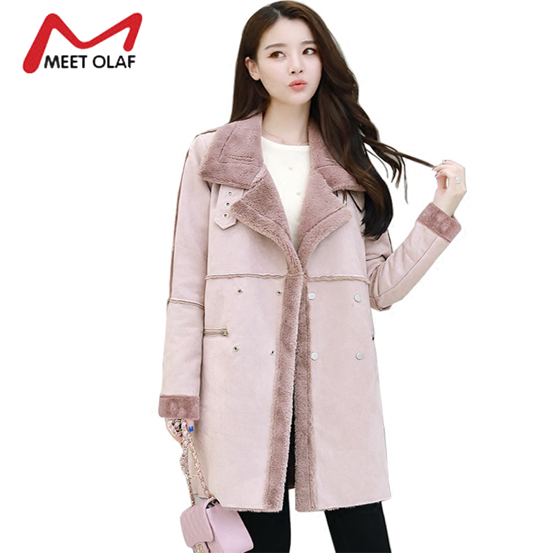 2017 Women Suede Leather Coats Long Double Breasted Trench Coats Female Winter Jackets Ladies Faux Sheepskin Windbreakers Y1627