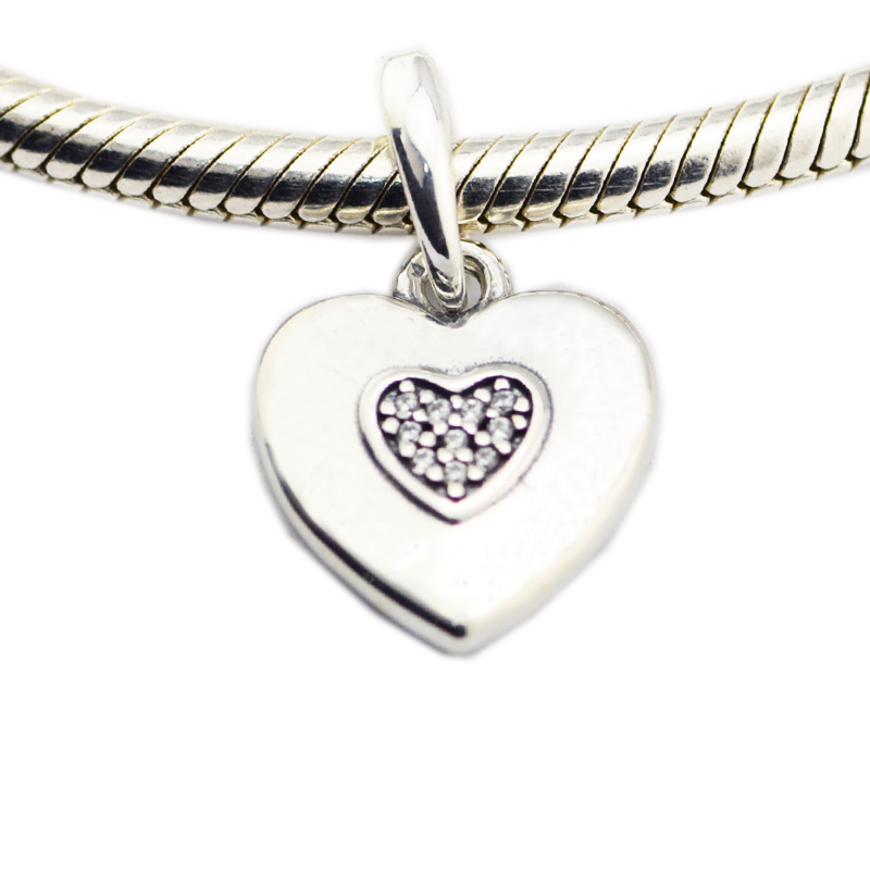 CKK 925 Sterling Silver Jewelry Heart Chamrs For Women Original DIY Beads Fits Bracelets For Jewelry Making
