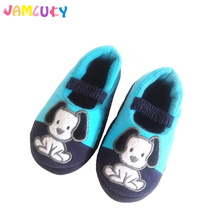 Boys Slippers Kids Shoes Cartoon Dogs Elastic Band Pink Flat Children Slippers Home Bedroom Girls Winter Shoes Cotton Slippers
