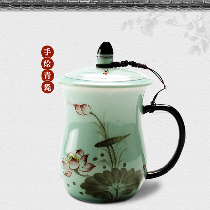 Chinese style ceramic teacup and scaucers set with gift box,porcelain lotus/celadon/under glazed tea cup with filter cup and lid