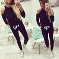 2017 fora do ombro das Mulheres terno preto O-pescoço das Mulheres terno ocasional duas peças set fatos de treino para as mulheres ao ar livre longa calças