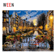 WEEN Night Town Diy Painting By Numbers Abstract Bridge Bikes Oil On Canvas Cuadros Decoracion Acrylic Wall Art Decor