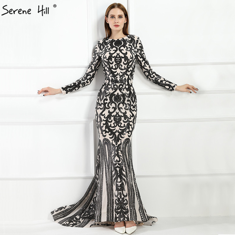 Detail Feedback Questions about 2019 Vintage Long Sleeve Muslim Luxury Mermaid  Evening Dress Beading Sequined Elegant Formal Evening Gowns LA6196 on ... 19432be2e808