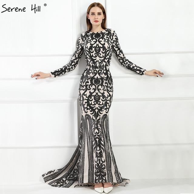 2019 Vintage Long Sleeve Muslim Luxury Mermaid Evening Dress Beading  Sequined Elegant Formal Evening Gowns LA6196 6603f625f1d3