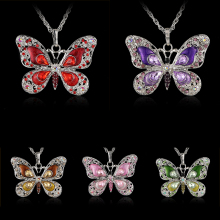 Rhinestone Butterfly Long Necklaces Sweater Necklaces Necklace For Women Necklace Pendants Silver Plated Jewelry with Chain Link цена 2017