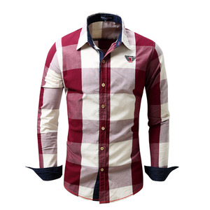 Image 3 - 2020 New Men 100% Cotton Plaid Shirt Long Sleeve Slim Fit Dress Shirts Casual Fashion Business Social Shirt Plus Size M 3XL 099
