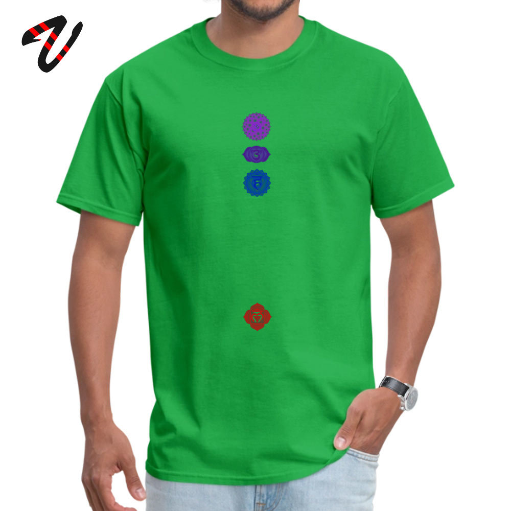 100% Cotton Fabric Men Short Sleeve Chakra spiritual meditation T Shirts Print T Shirt High Quality Summer Crewneck T Shirts 7 Chakra spiritual meditation 4718 green