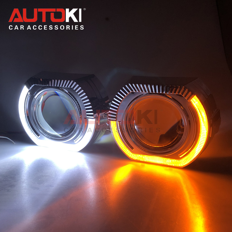 AUTOKI New X5-R 2.0 Sports LED Angel Eyes HID Bi Xenon Projector Lenses H4 H7 Car Retrofit White Amber Switchback Turn Signal