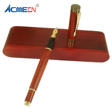 ACMECN Rose Wood Fountain Pen With Bonus Case Packing Medium Nib Natural Handcrafted Calligraphy Pens for Gifts