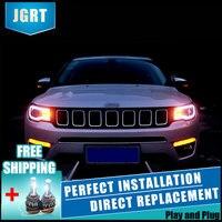 2 шт. светодиодный фары для Jeep compass 17 18 автомобиля светодиодный свет двойной ксеноновой линзы автомобильные аксессуары Габаритные огни тума