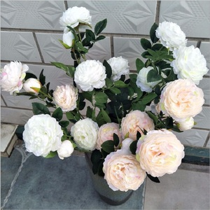 peony artificial flower pot culture green plant Wedding office furnishings 3 flowers per bunch many colors for choose