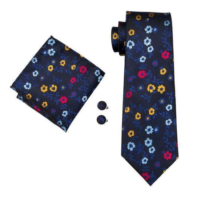 4P-12 Barry.Wang New Men Tie Top Quality Floral Classical Jacquard Woven Necktie Hanky Cufflink Set For Wedding With Gift Box